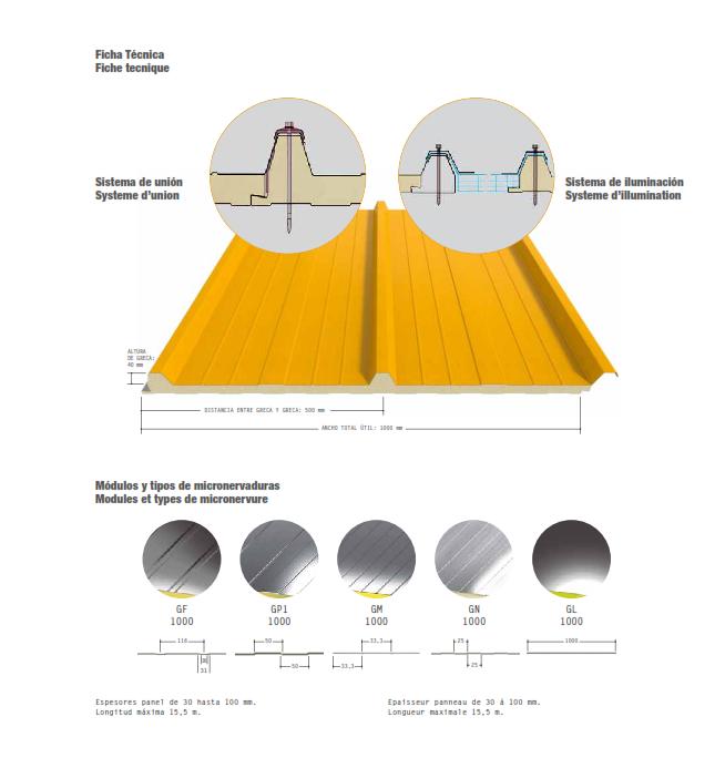 Panel poliuretano techos aislante termico
