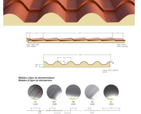 Panel poliuretano imitacion teja